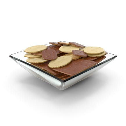 Square Bowl with Mixed Chocolate Covered Crackers