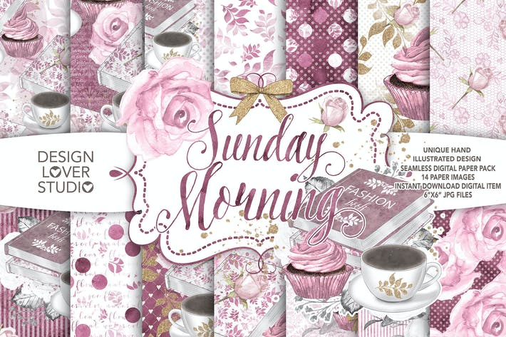 Thumbnail for Watercolor Sunday Morning digital paper pack