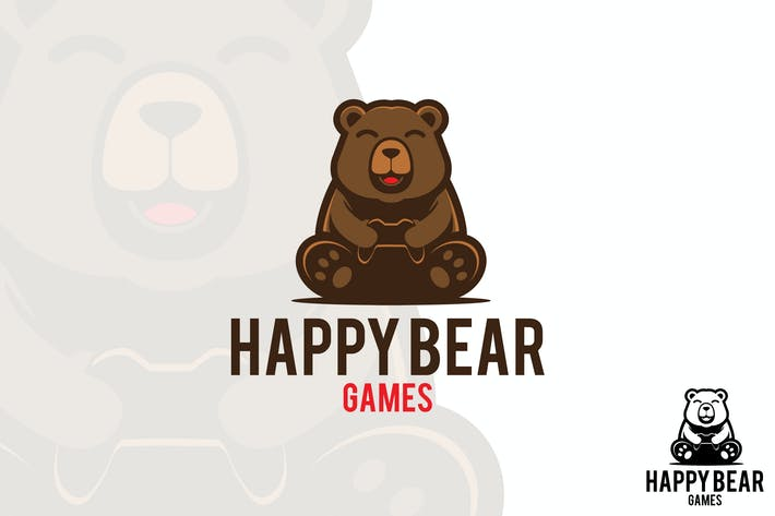 Thumbnail for Happy Bear Vector Logo Mascot