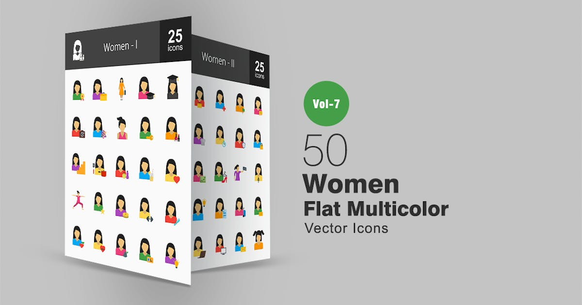 Download 50 Women Flat Multicolor Icons by IconBunny
