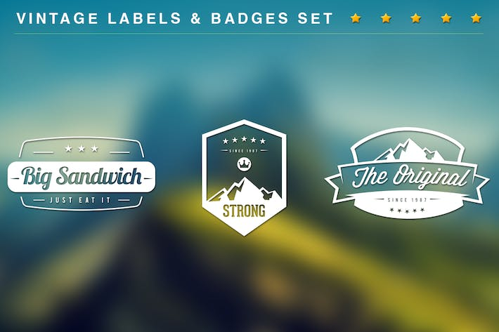 Thumbnail for 20 Vintage Labels & Badges