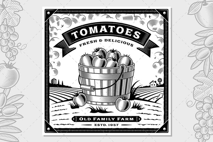 Thumbnail for Retro Tomato Harvest Label With Landscape