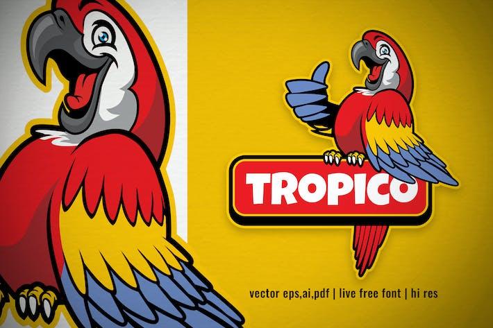Thumbnail for happy scarlett macaw bird logo