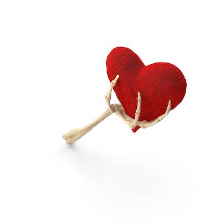Skeleton Hand Holding a Fluffy Heart