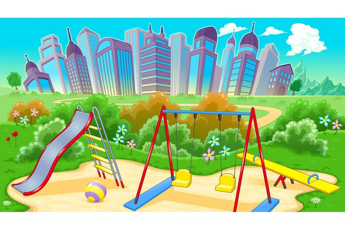Thumbnail for View on the Playground with City