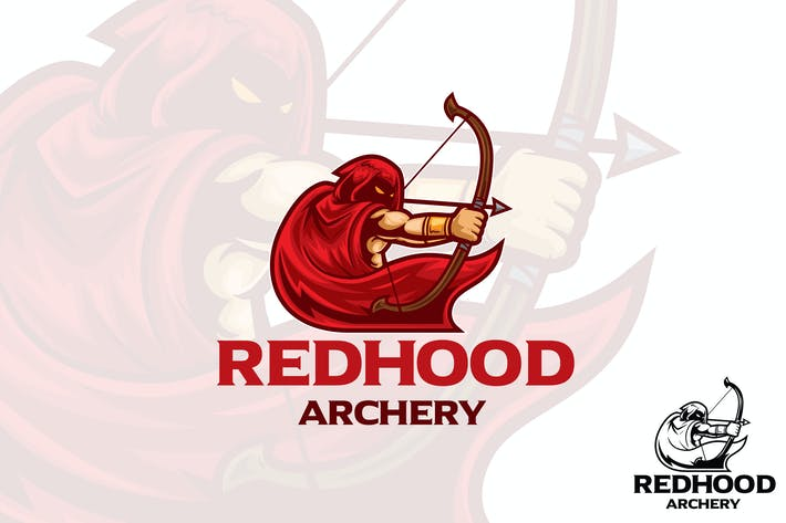Red Hood Archery Logo Mascot