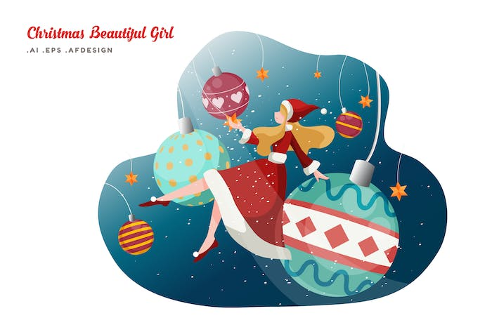 Thumbnail for Merry Christmas Beautiful Girl Vector Illustration