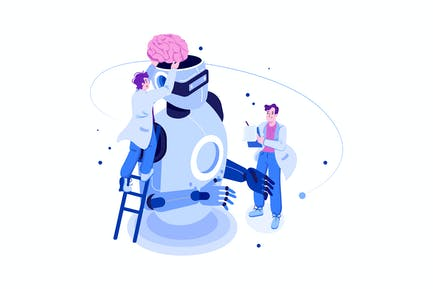 AI Technology Development Illustration Concept