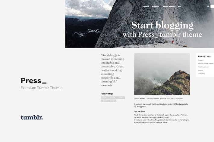 Thumbnail for Press | Premium Blogging Tumblr Theme