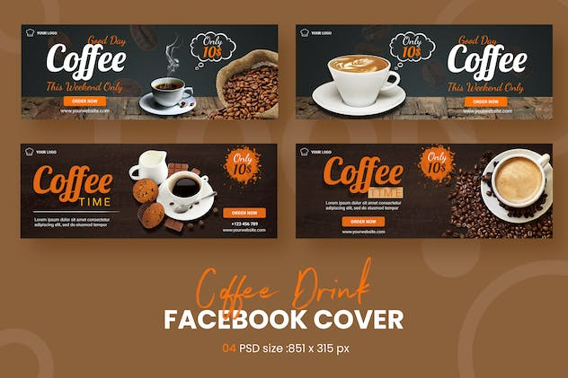 Drink Coffee Facebook Cover Template