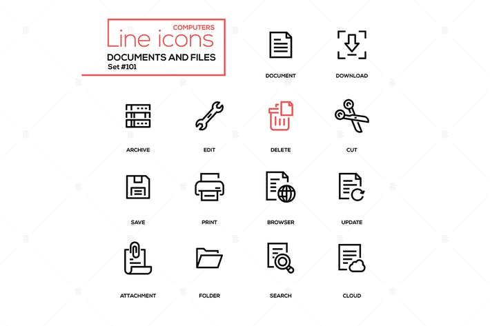 Thumbnail for Documents and files - modern line design icons set