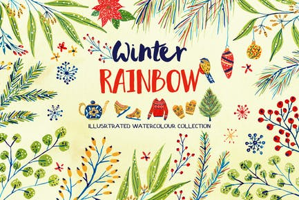 Watercolour Winter Rainbow