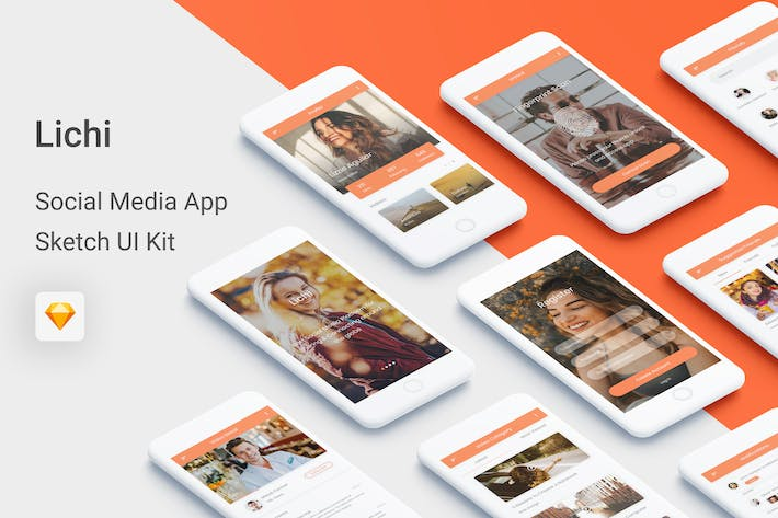 Thumbnail for Lichi - Social Media UI Kit for Sketch