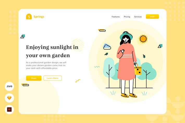 Private Garden - Website Header - Illustration