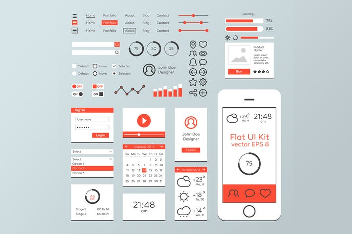Thumbnail for Red & White Flat Mobile Web UI Kit