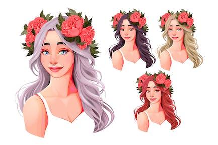 filles avec des fleurs sur leurs têtes