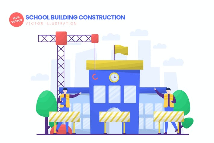 Thumbnail for School Building Construction Vector Illustration