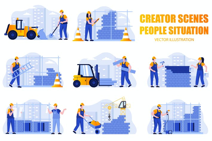 Thumbnail for Construction People Character Scene Creator Kit