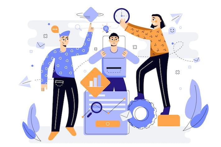Thumbnail for Ilustración de trabajo en equipo