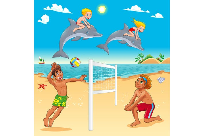 Thumbnail for Funny Summer Scene with Dolphins and Beachvolley