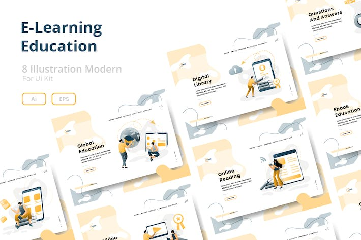 Thumbnail for E-Learning Education set Illustration