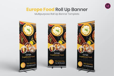 Europe Food Roll Up Banner