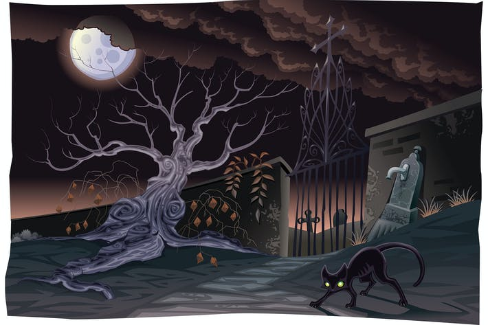 Thumbnail for Black cat and cemetery in the night.