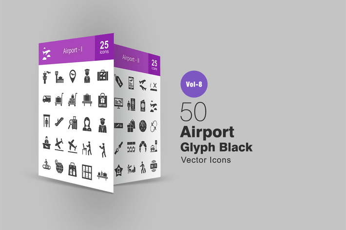 Thumbnail for 50 Airport Glyph Icons