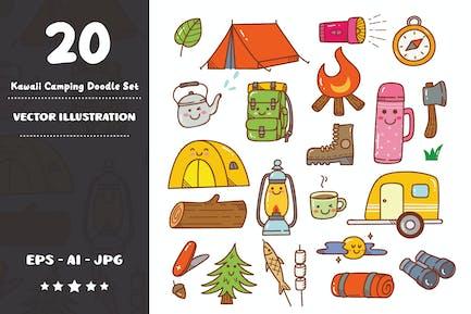 Ensemble Doodle Camping Kawaii