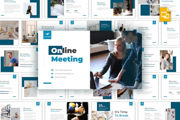 Thumbnail for Online Meeting - Business Google Slides Template
