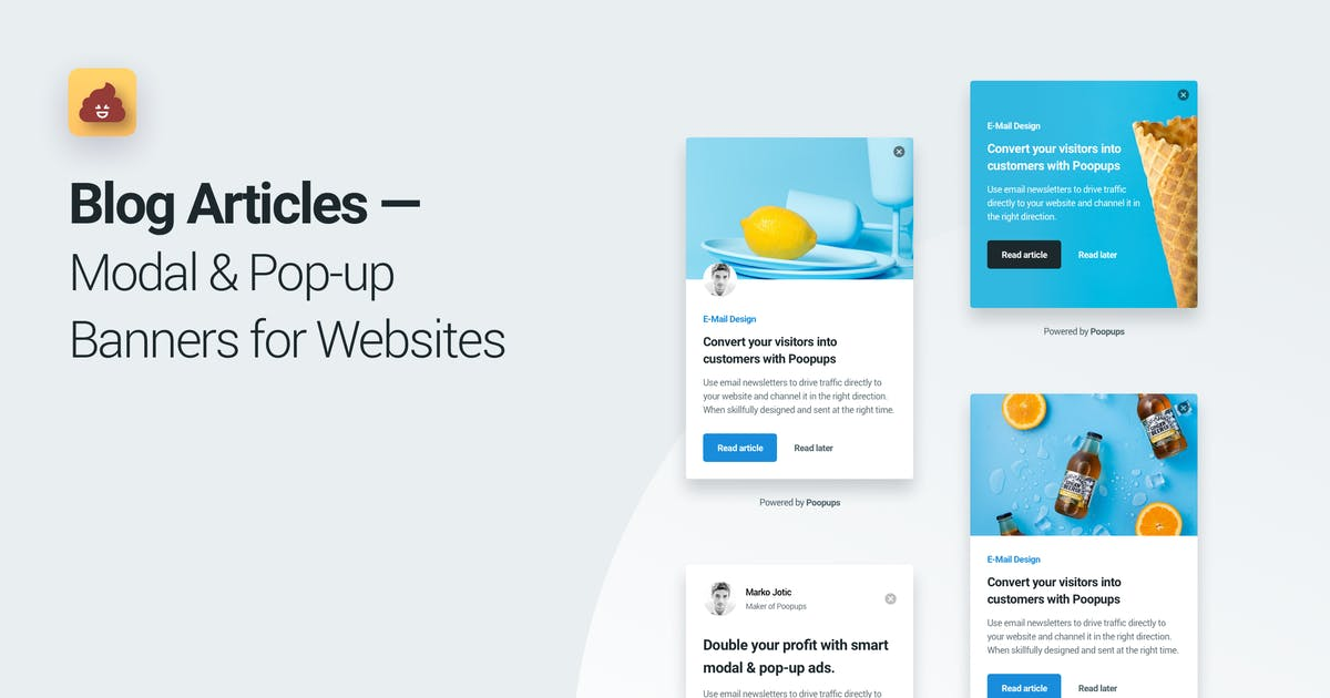 Download Blog Articles Modal & Pop-up Banners for Websites by panoplystore