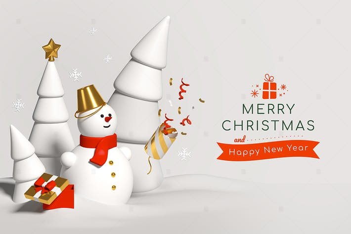 Thumbnail for Frohe Weihnachten und ein glückliches neues Jahr - 3D Banner