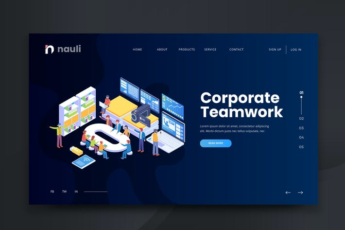 Thumbnail for Isometric Corporate Teamwork Web PSD and AI Vector