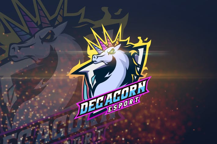 Thumbnail for Decacorn - AI and PSD Esport Logo Template