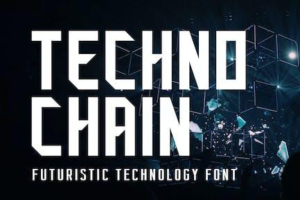 Tecno Chain Futuristic Technology Font