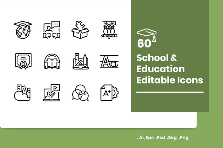 Thumbnail for 60 School and Education Icons