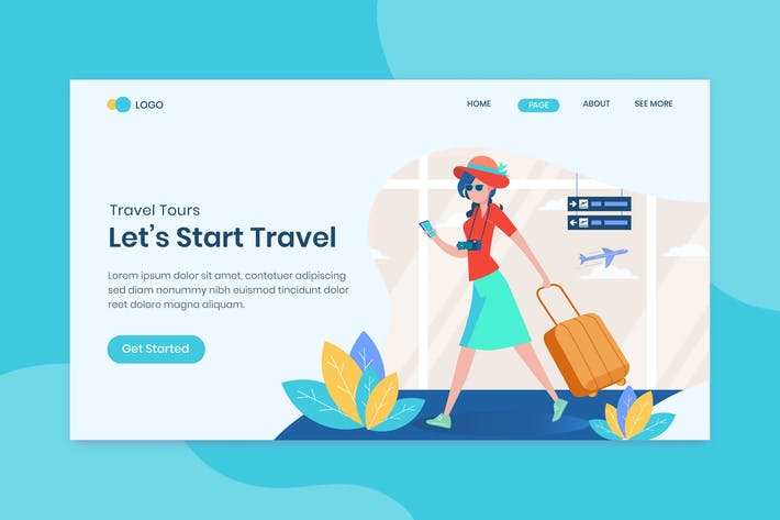 Thumbnail for Travel landing page template