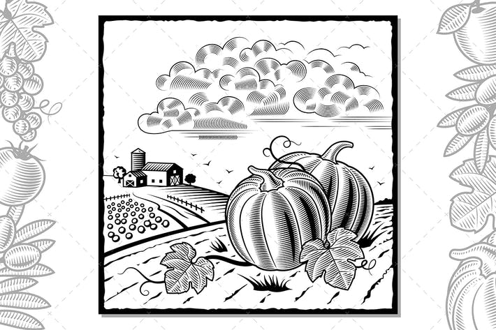 Thumbnail for Landscape With Pumpkins Black And White