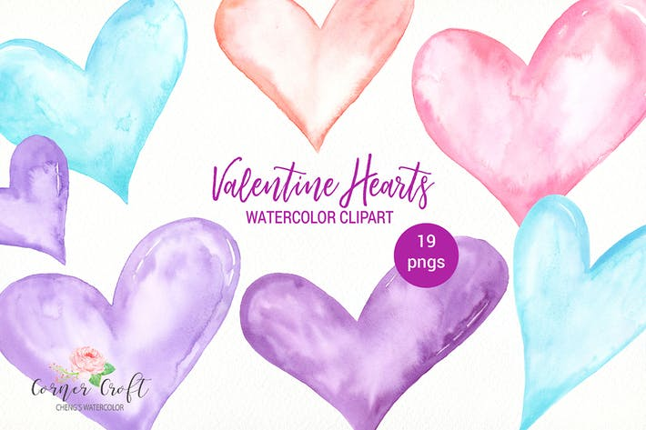 Thumbnail for Watercolor Valentine hearts