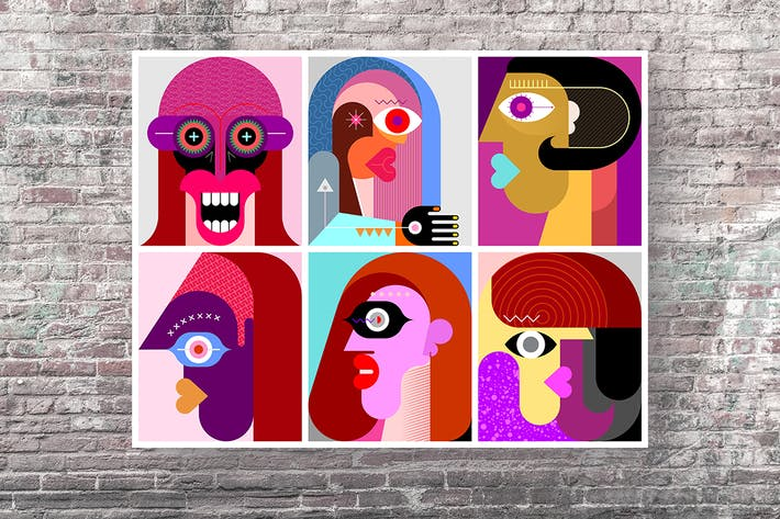 Thumbnail for Six Faces vector illustration