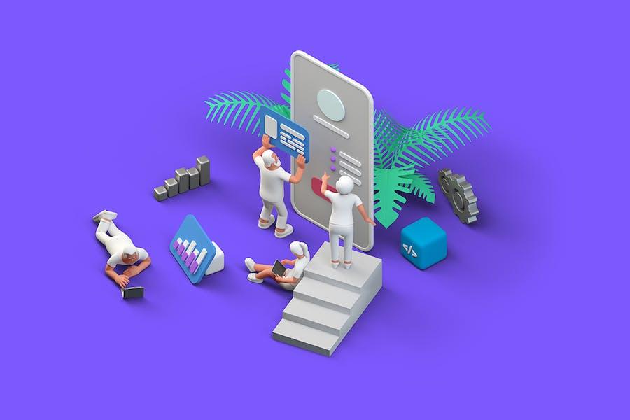 Ui Ux Design Team Mobile Application Isometric 3D