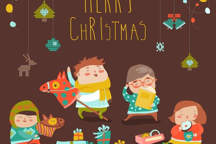 Thumbnail for Vector Christmas Card with cute kids, sweets