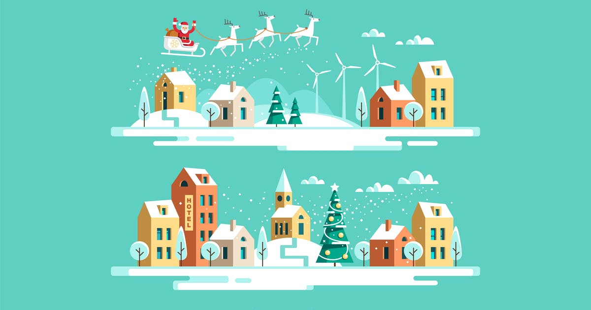 Christmas Town Urban Winter Landscape by Faber14