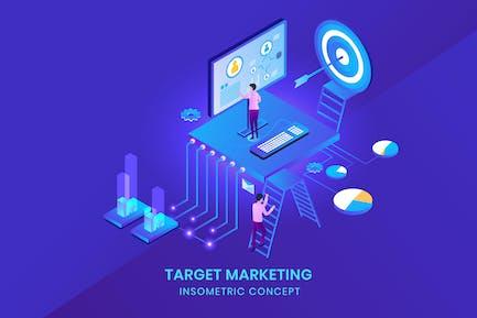 Target Marketing - Isometric Vector