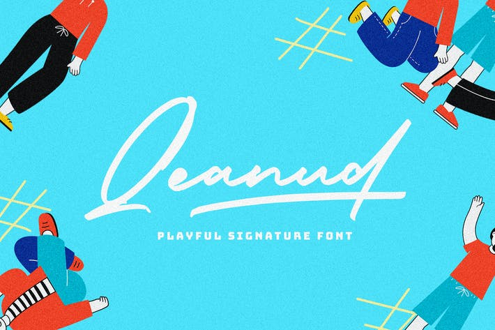 Thumbnail for Qeanud - Playful SIgnature Font