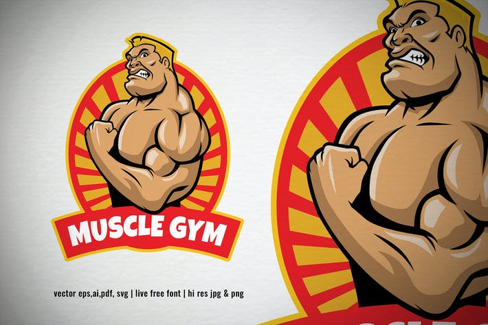 Thumbnail for cartoon bodybuilder posing for gym logo