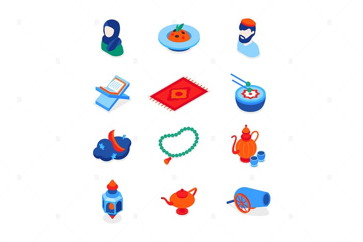 Islamic holiday - modern isometric icons