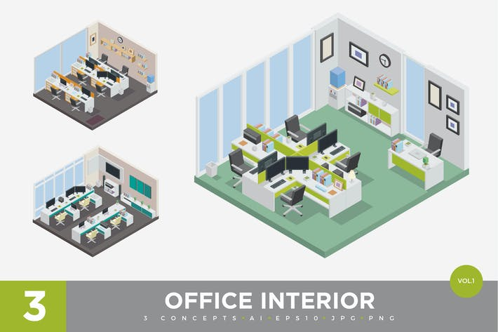 Thumbnail for 3 Isometric Office Cubical Interior Vector Set 1