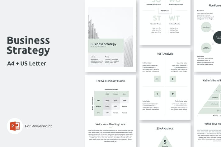 Thumbnail for A4 Business Strategy PowerPoint Template