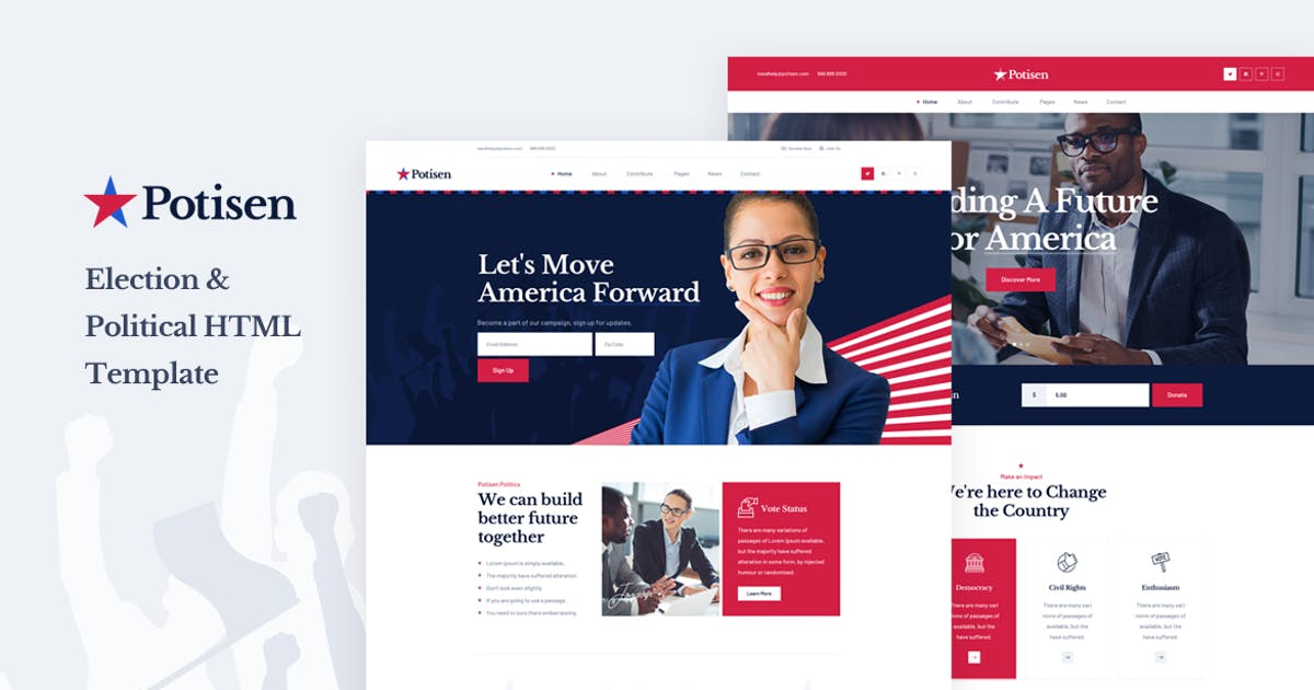 Download Potisen - Election & Political HTML Template by Layerdrops